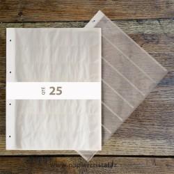 Feuillets archivage en papier cristal pour negatifs 135