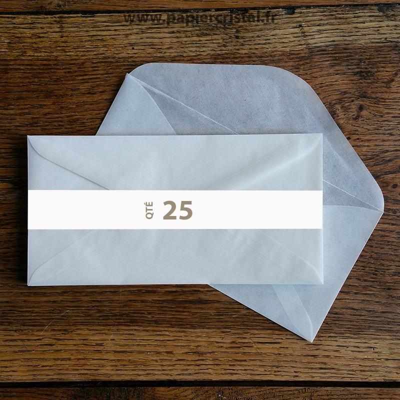 Enveloppes cristal gommées DL 220 x 110 mm